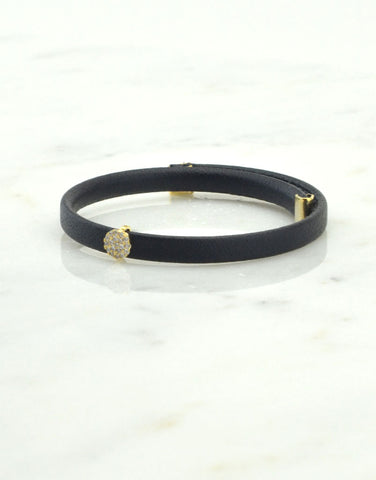 Leather Cuff Bracelet with Circle
