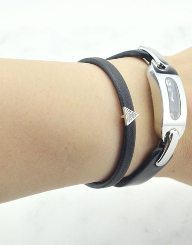 Leather Cuff Bracelet with Triangle