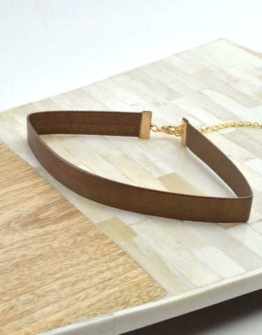 Bronze Vegan Leather Choker