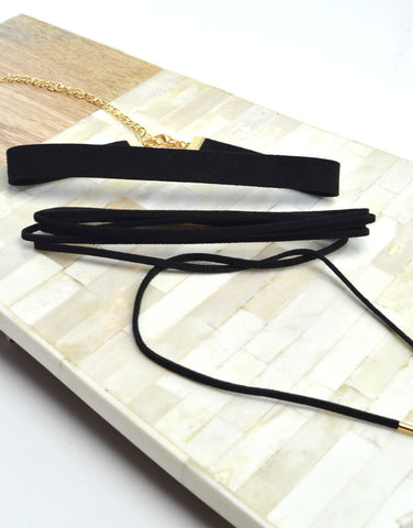 Long Suede Wrap Choker Set