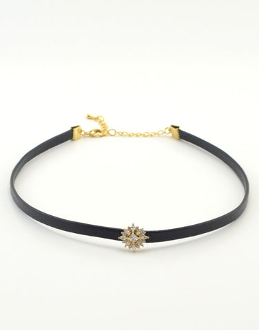 Crystal Flower Leather Choker