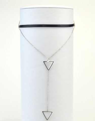 Triangle Y Necklace Choker Set of 2