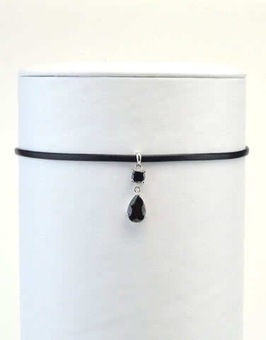 Black Tear Drop Leather Choker