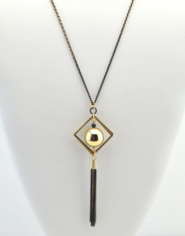 Long Geometric Tassel Necklace