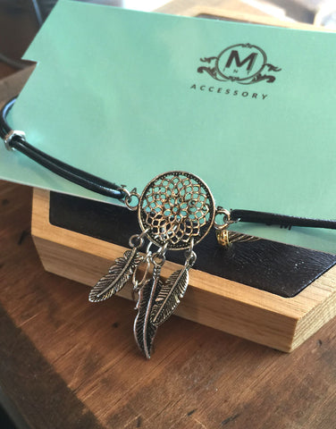 Dream- catcher Leather Choker