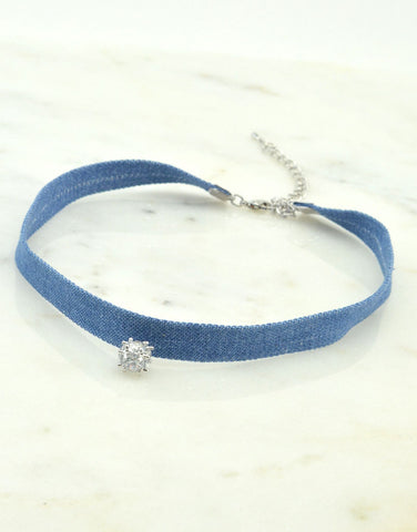 Crystal Ball Denim Choker