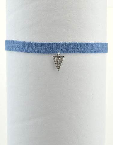 Triangle Denim Choker