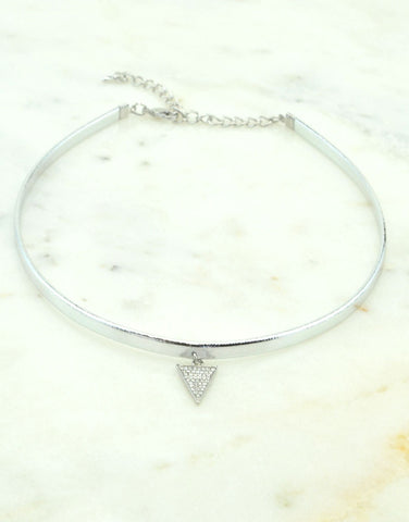 Triangle Silver Leather Choker