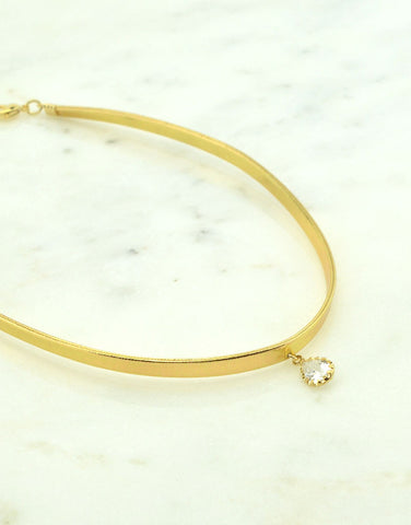 Teardrop Gold Leather Choker