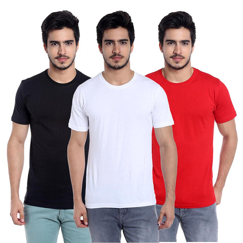 pack of 3 cotton black white and red t-shirt