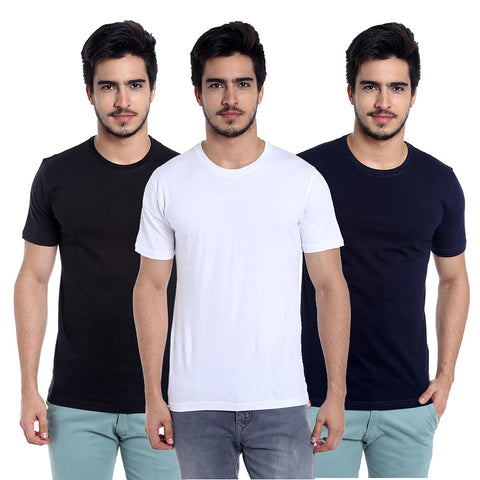 pack of 3 cotton t-shirt-black-white-navyblue