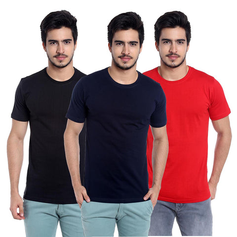 pack of 3 cotton t-shirt-black-navyblue-red