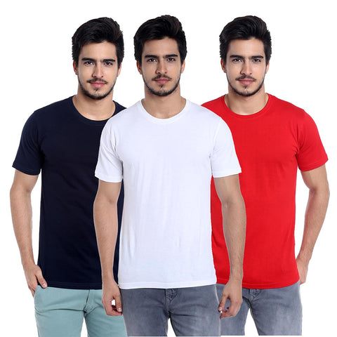 Pack of 3 navyblue,white-red cotton t-shirt