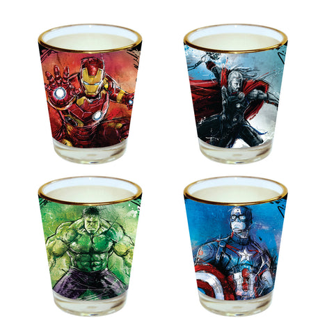 Superhero Shot Glasses pack of 4 by posterboy