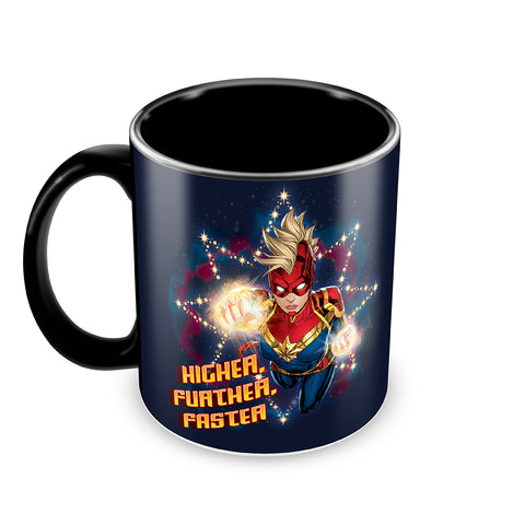 captain marvel higher further faster coffee mug