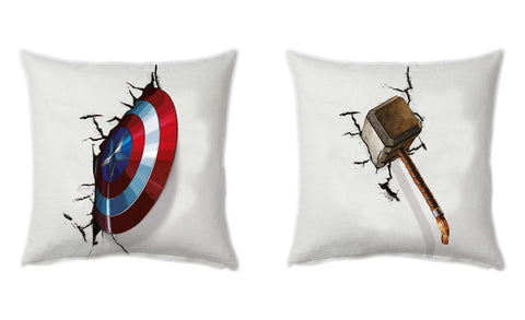 captain america shield and thor hammer cushion cover - Posterboy