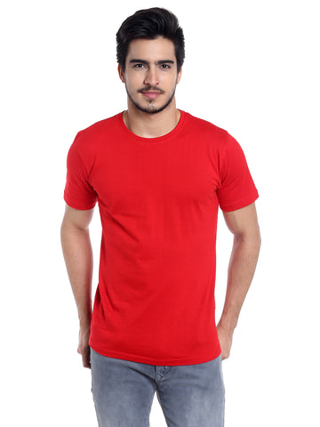 Red Solid Men's Cotton T Shirt