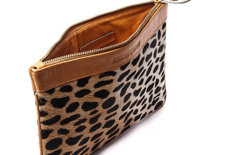 WHITTNEY CLUTCH - TAN CHEETAH