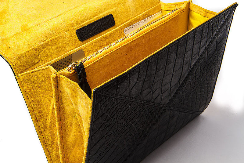 VANESSA CLUTCH - BLACK/ YELLOW