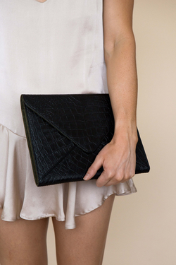 VANESSA CLUTCH - BLACK/ OLIVE