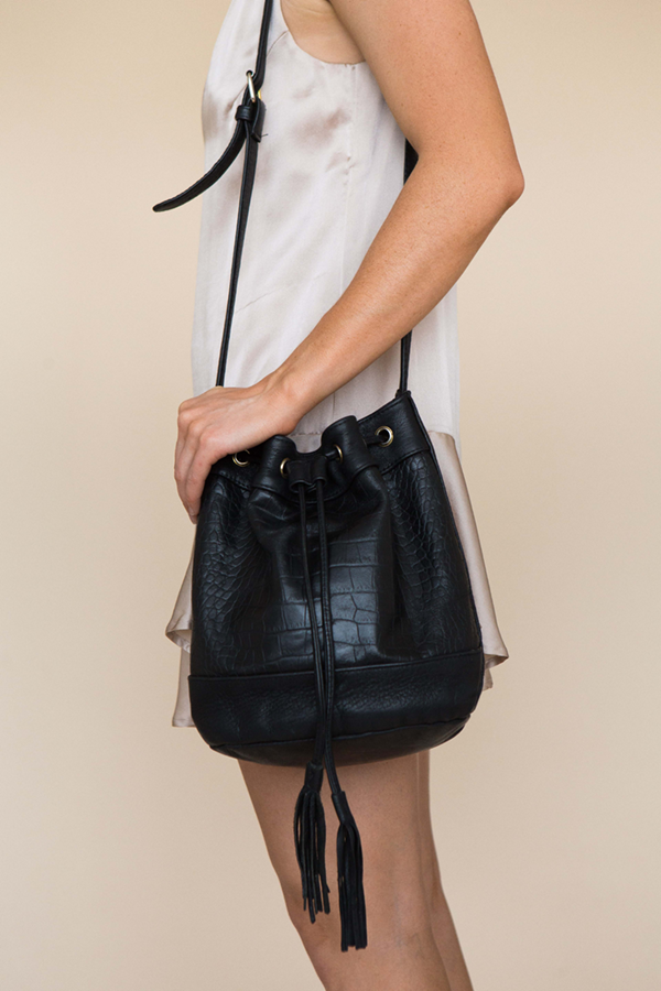 ELIN BUCKET BAG - BLACK CROC EMBOSSED