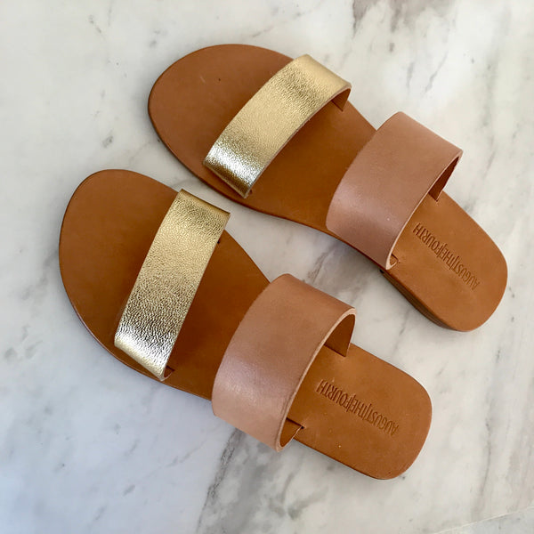 CHLOE Slides - Blush/ Gold