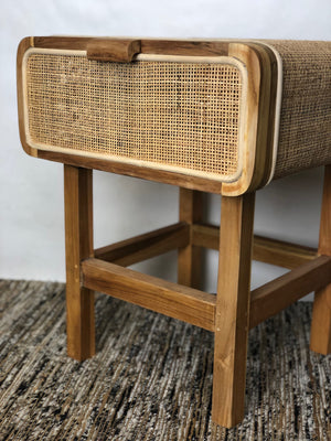 Table Side Teak w Rattan Mesh