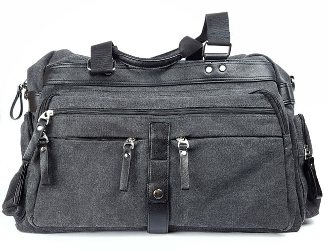 Travel Bag Canvas/Leather Blk