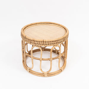 Cane round table with glass top
