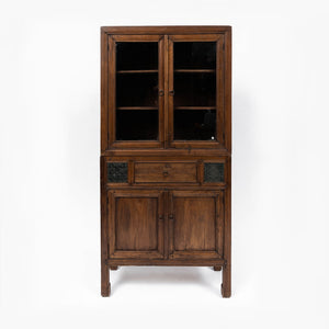 Cabinet with Lead Light Teak Vintage