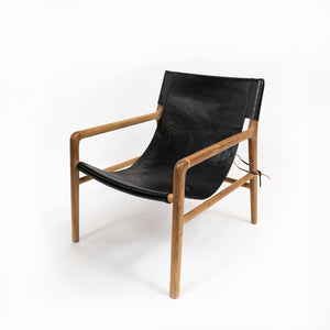 Chair Sling Leather Wood Black