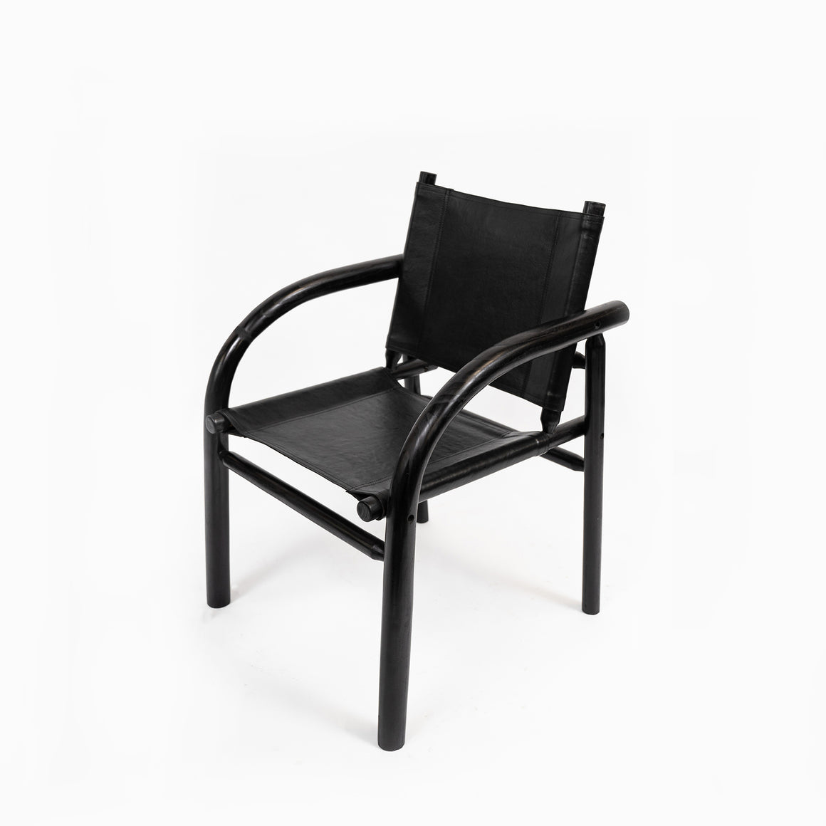 Chair Henry Leather Teak Black
