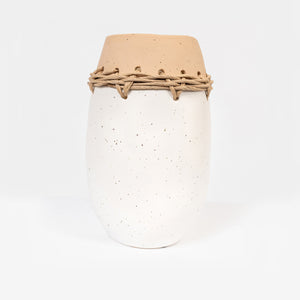 Terracotta vase with rope edging