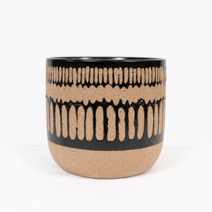 Small planter 3 Stripe Natural and Black