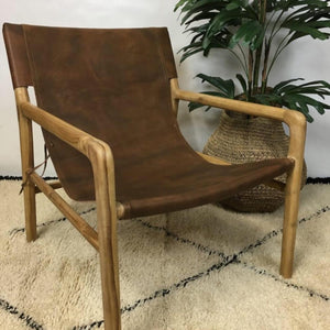 Chair Sling Leather Wood Tan