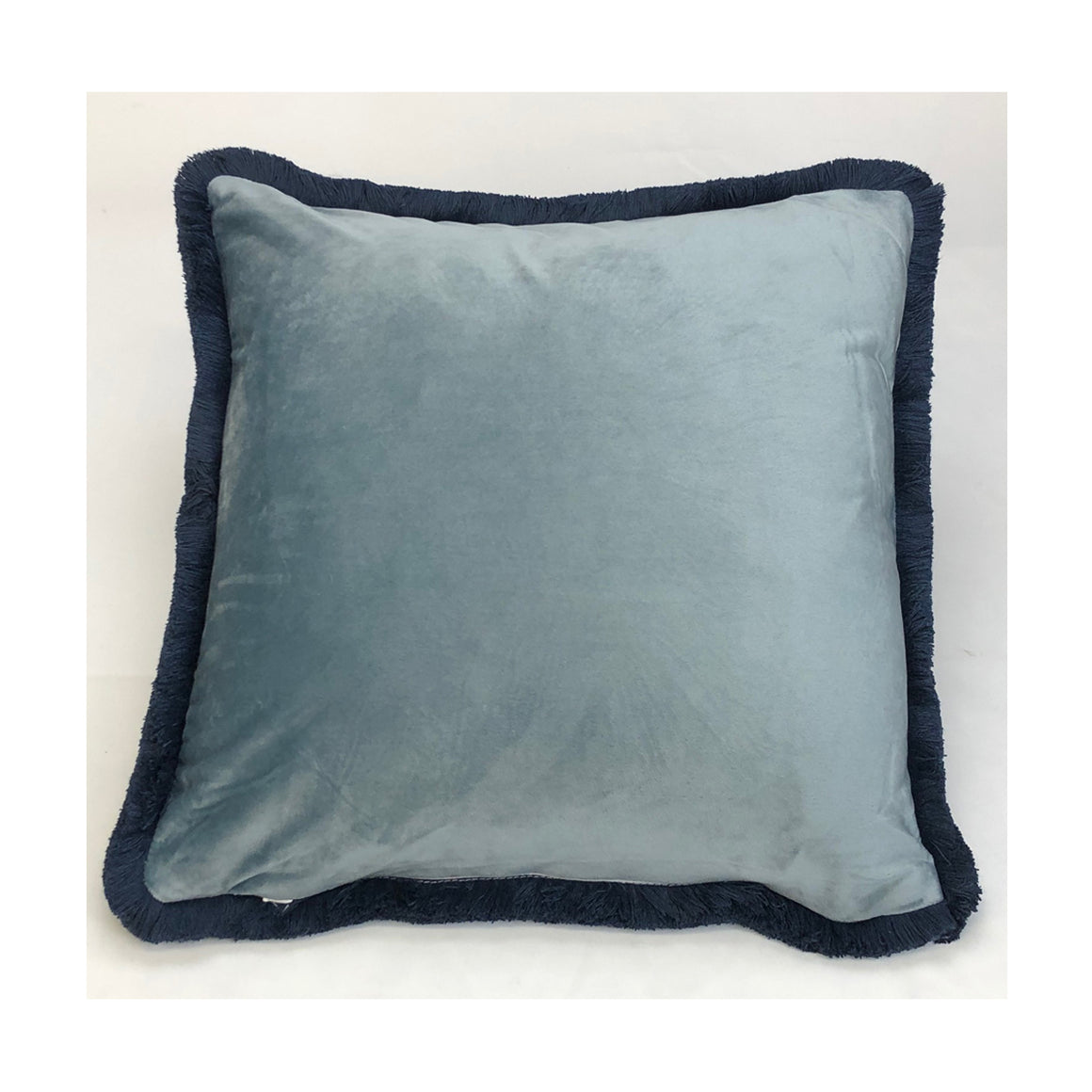 Cushion Blue Grey Fringe 45x45