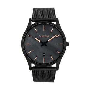 Dukudu watch. Dagmar. Rose gold indications. Black pearl finish dial