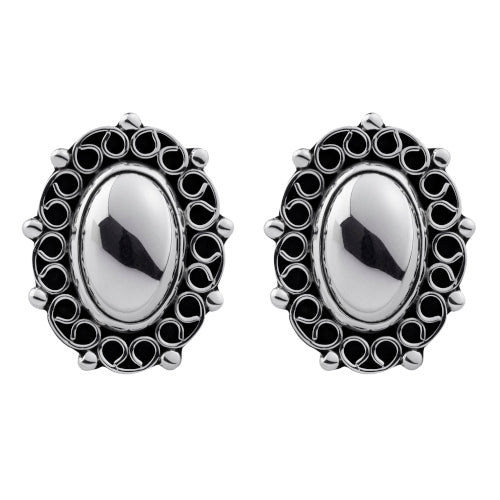 Earrings Oxid Dome Pattern Edg