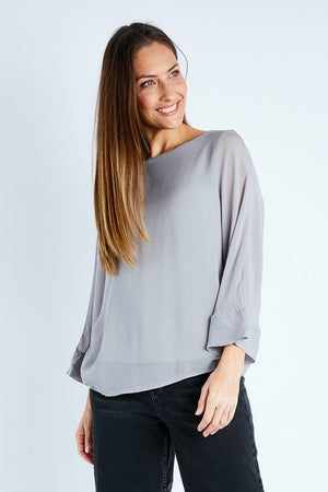 Fate and Becker - Willow Silk Silver Grey Top