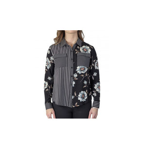 VASSALLI Shirt Long sleeve Floral Stripe