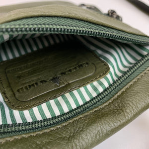 Leather shoulder bag small green