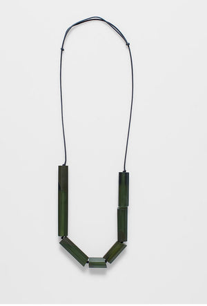 Necklace Faceted Bar Green