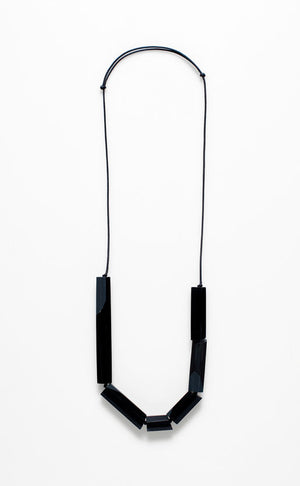 Necklace Faceted Bar Charcoal