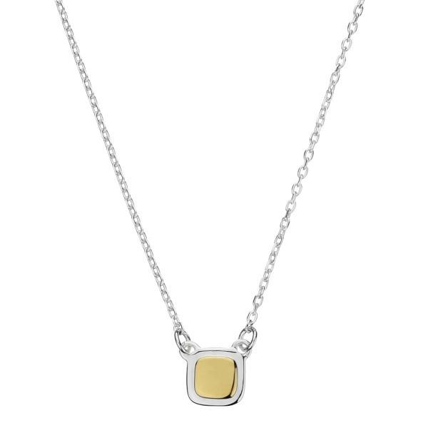 Necklace Round Square Silver & Yellow