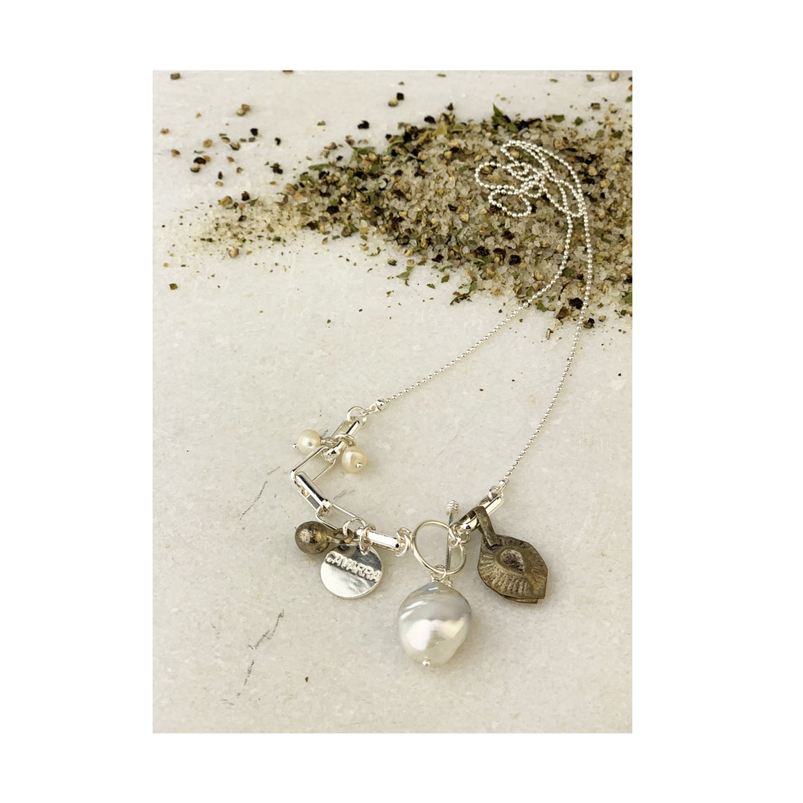 Cavarra - Pearl Pyrite Necklace