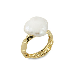 Bianc - Rockpool Pearl Ring Gold Plated