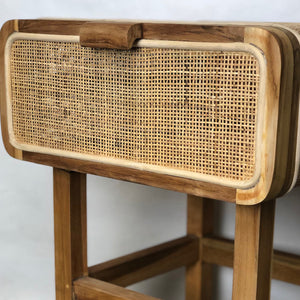 Teak Sidetable with Rattan Mesh