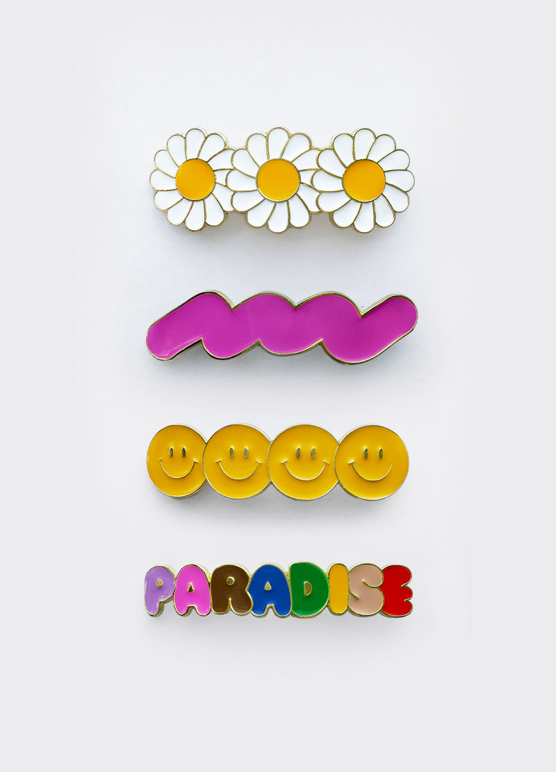 Enamel Hair Barrette Set