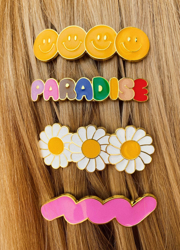 Enamel Hair Barrette – Smiley