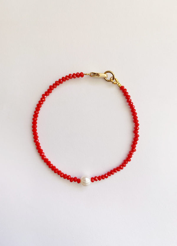 Mini Pearl Bracelet – Red